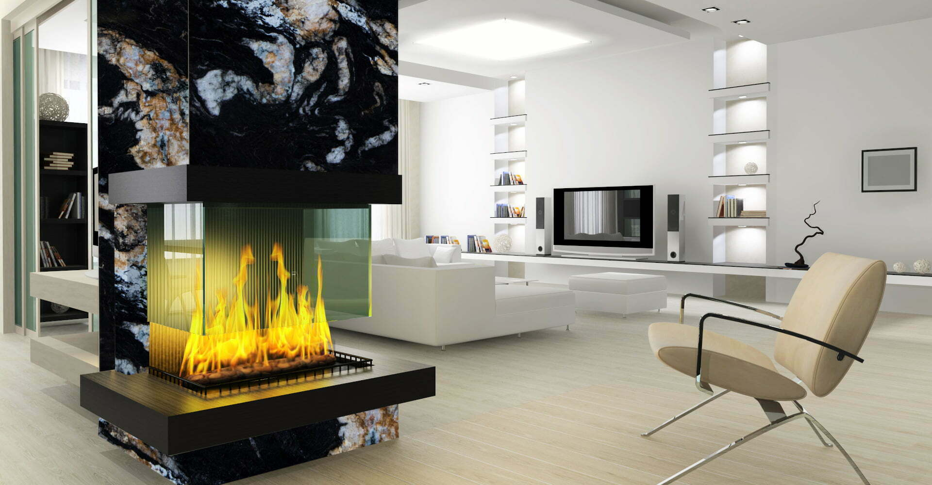 granite acadian night fireplace
