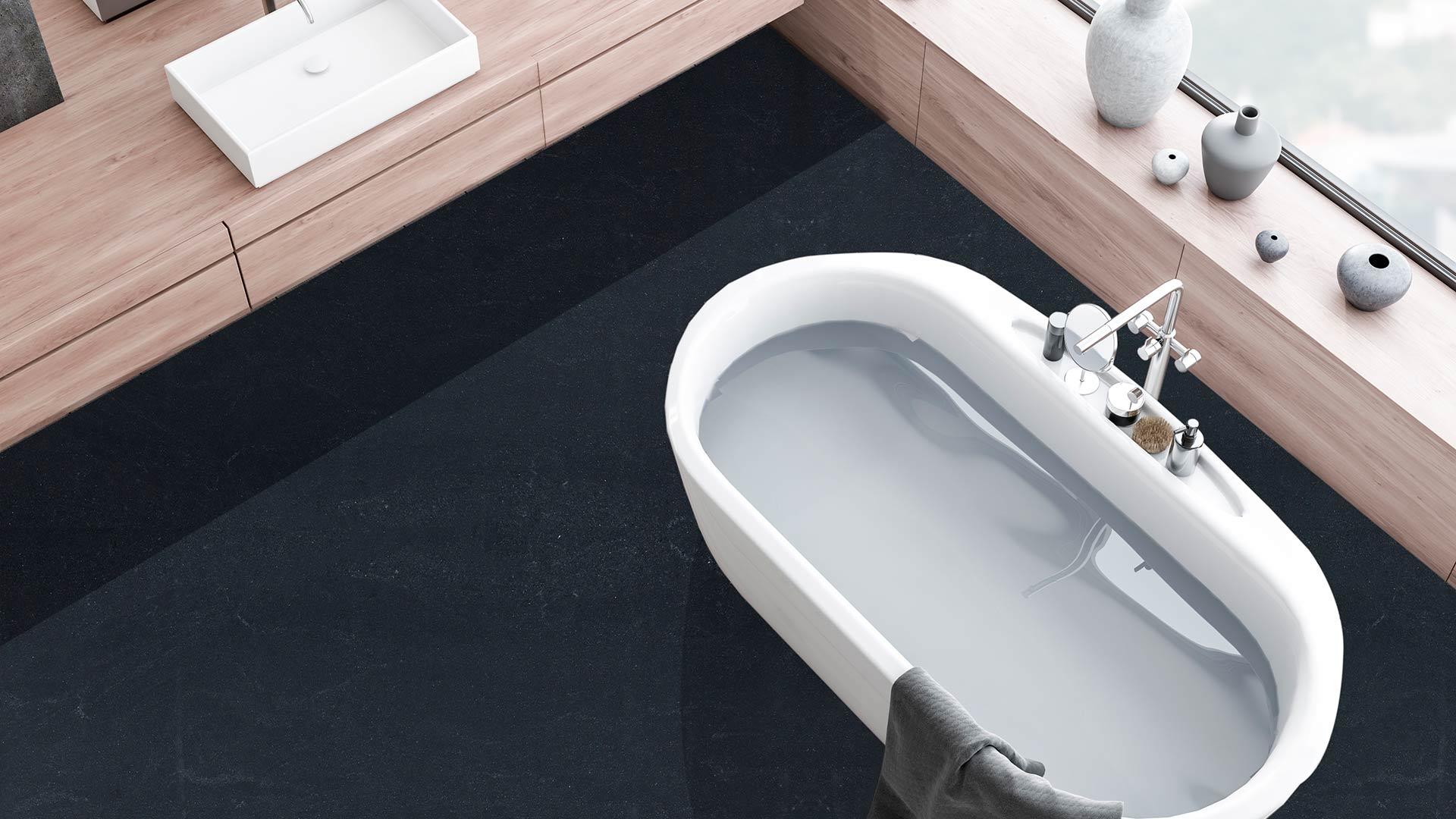 granite black misty bathroom