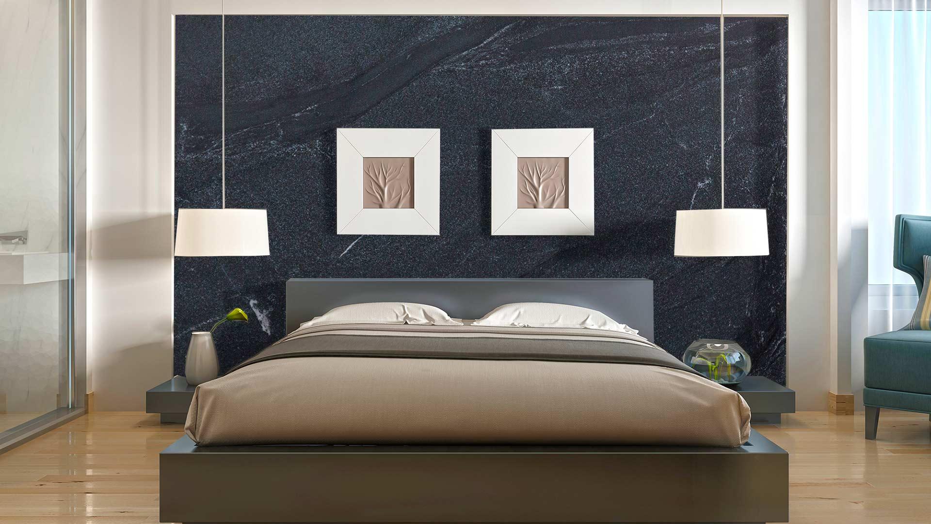 granite black misty bedroom