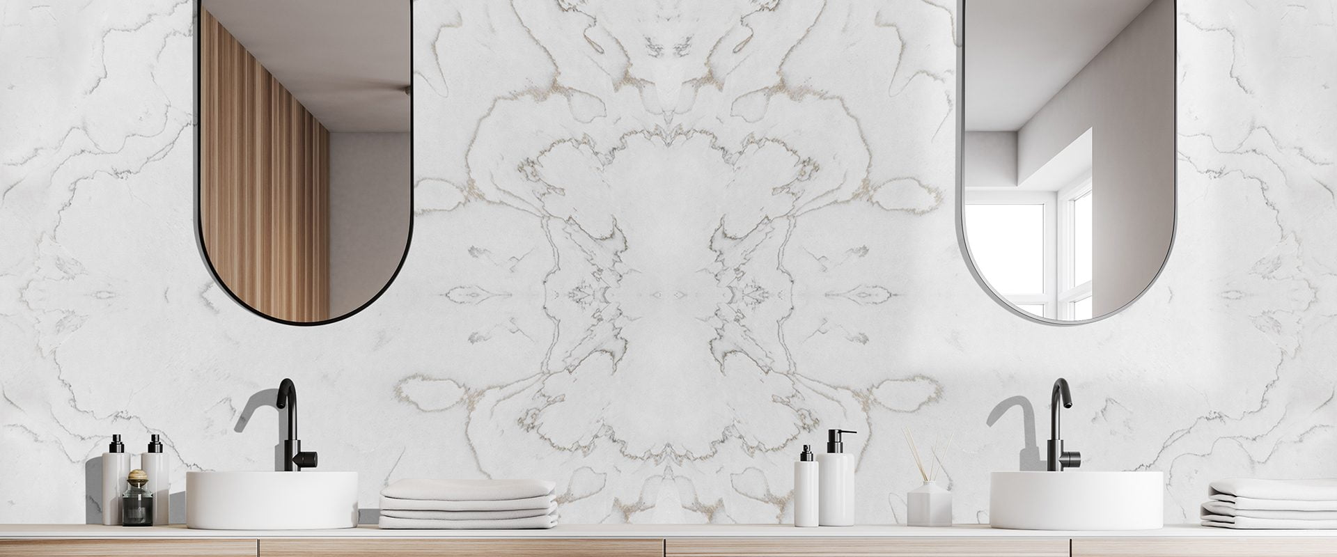 Close up of double bathroom sink standing on wooden countertop in room with white walls and oblong mirrors. 3d rendering