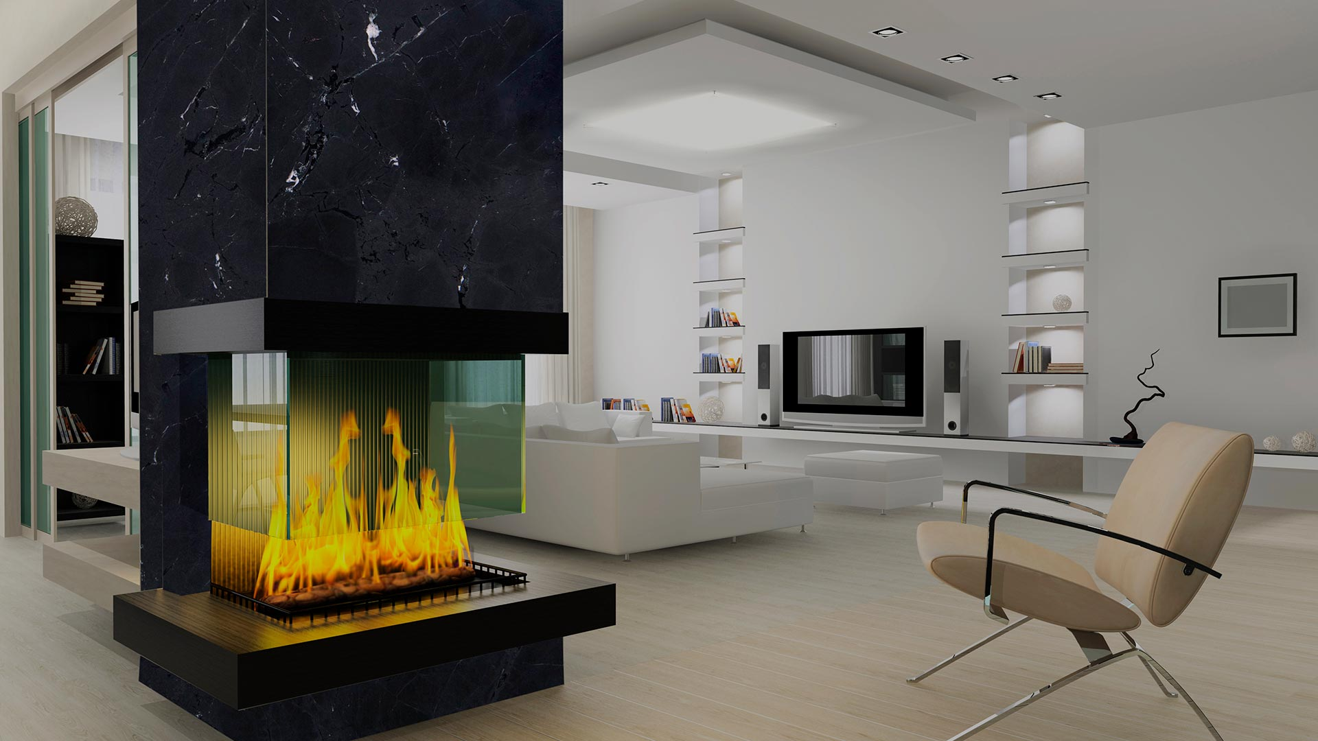 granite diamond black fireplace