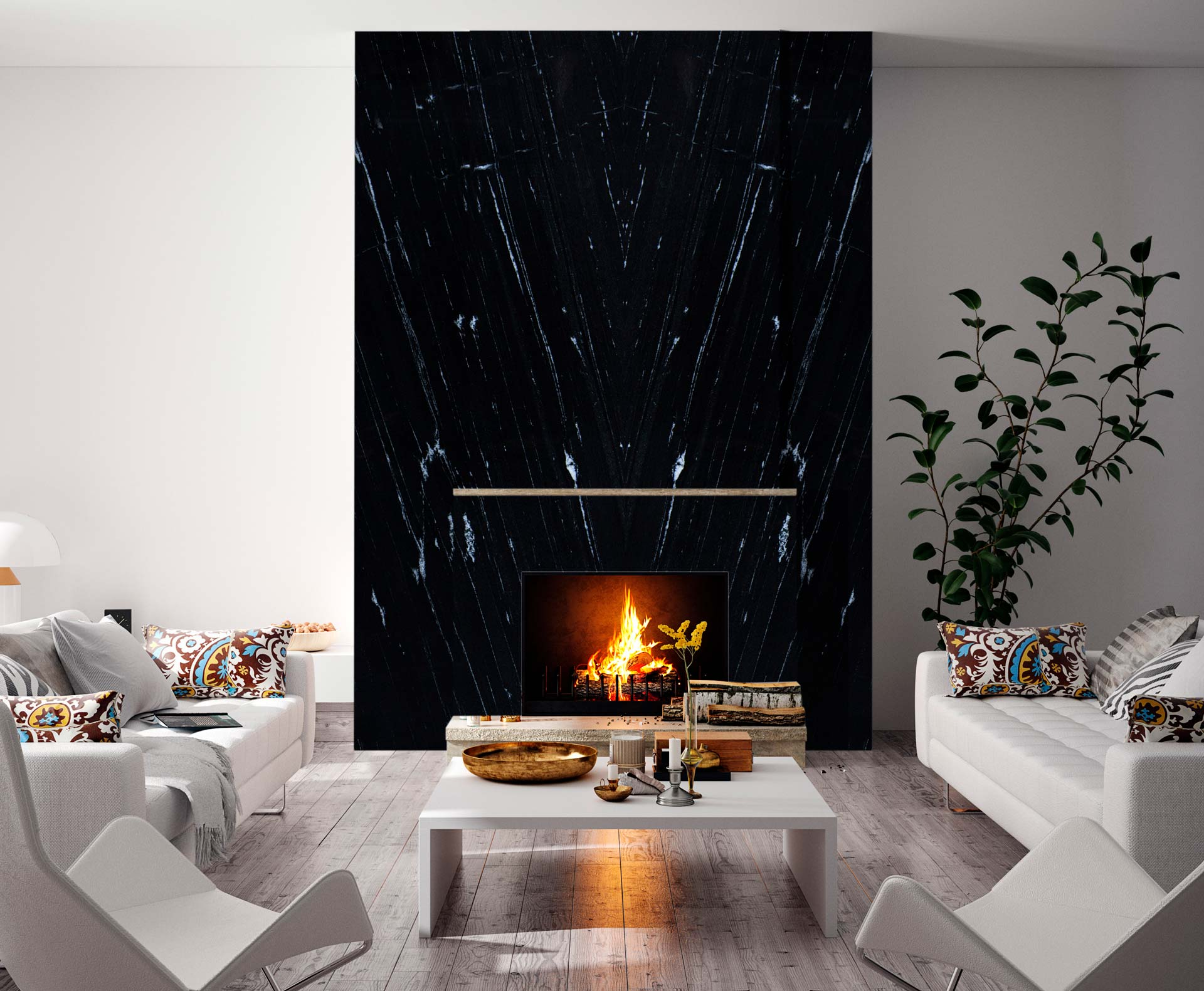 granite via lactea fireplace