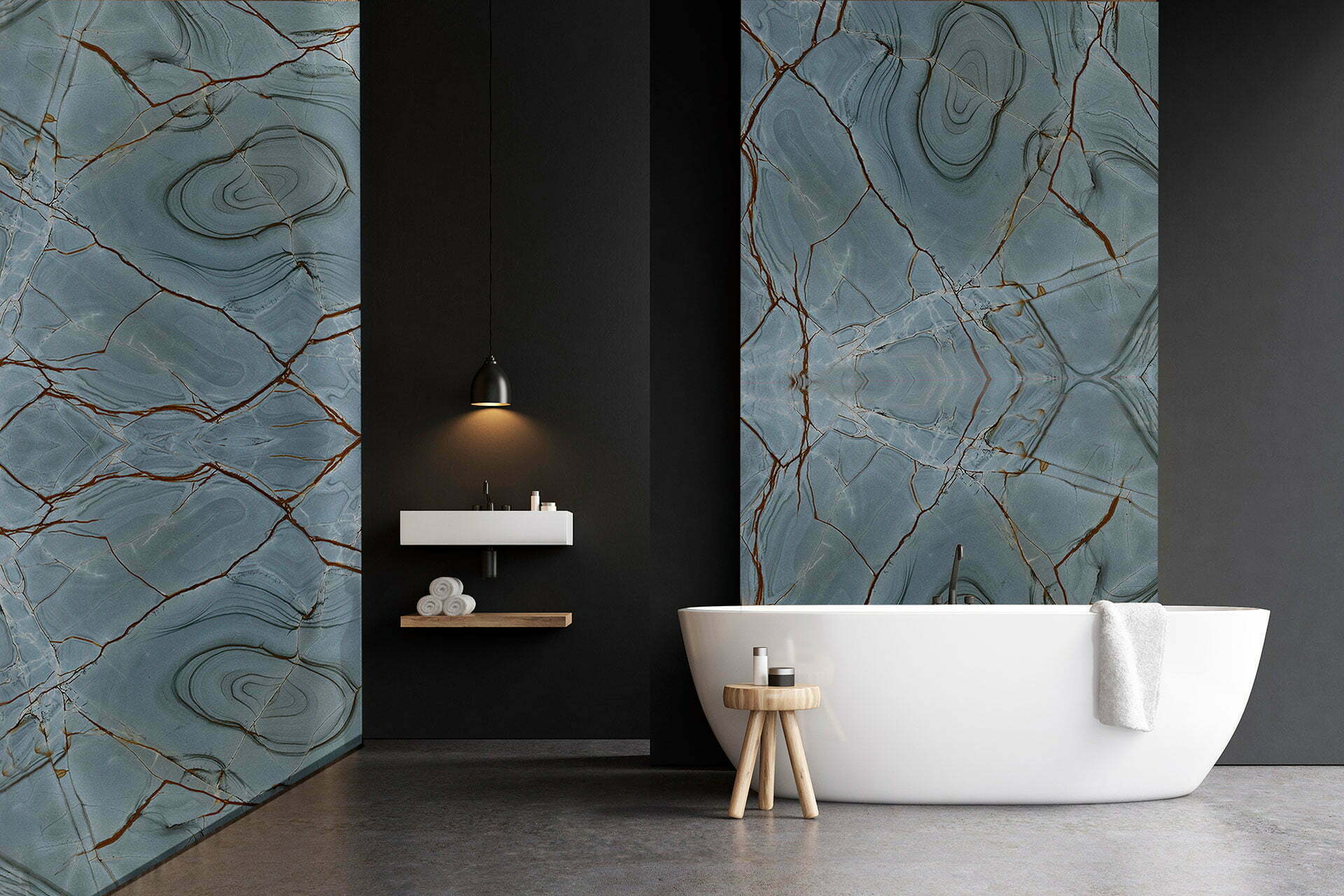 quartzite blue deep bathroom