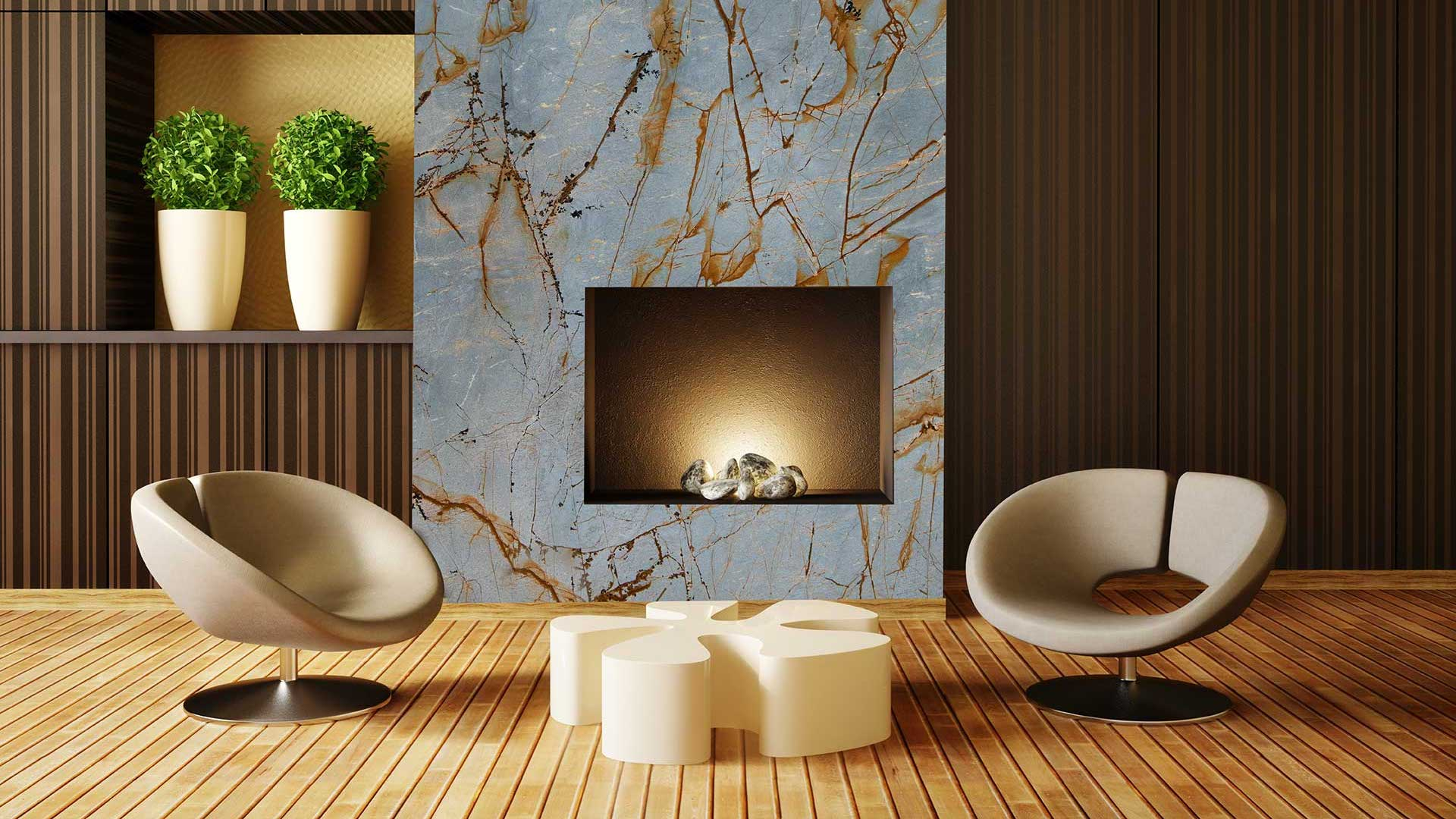 quartzite blue roma fireplace 1