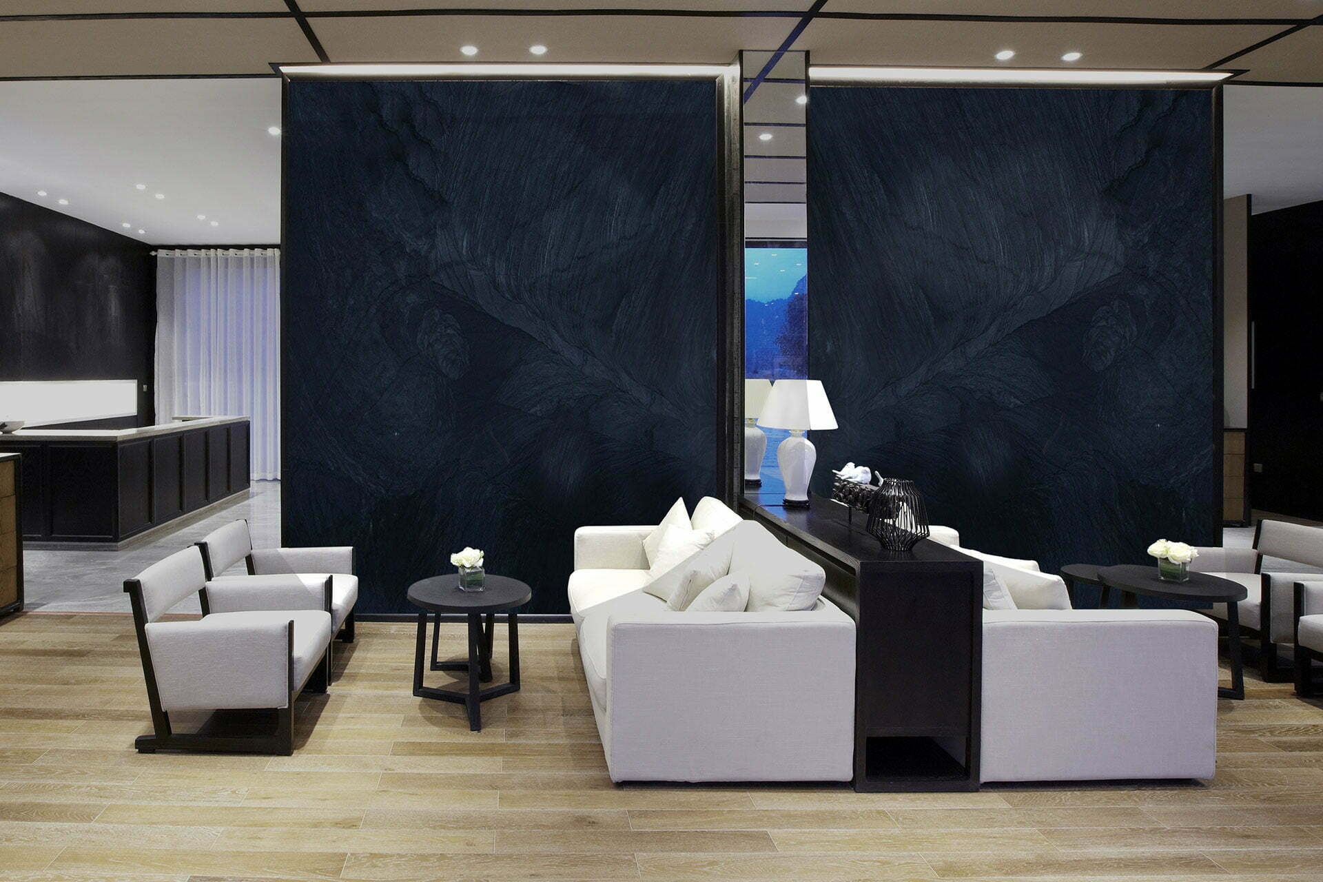 quartzite brilliant black lobby