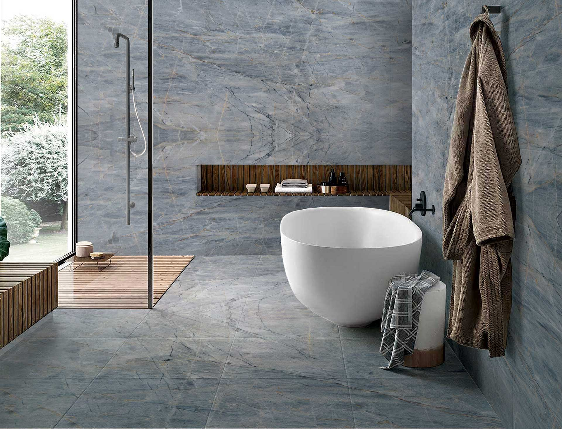 quartzite ijen blue bathroom