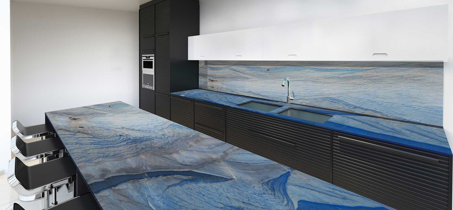 quartzite royal blue macaubas kitichen