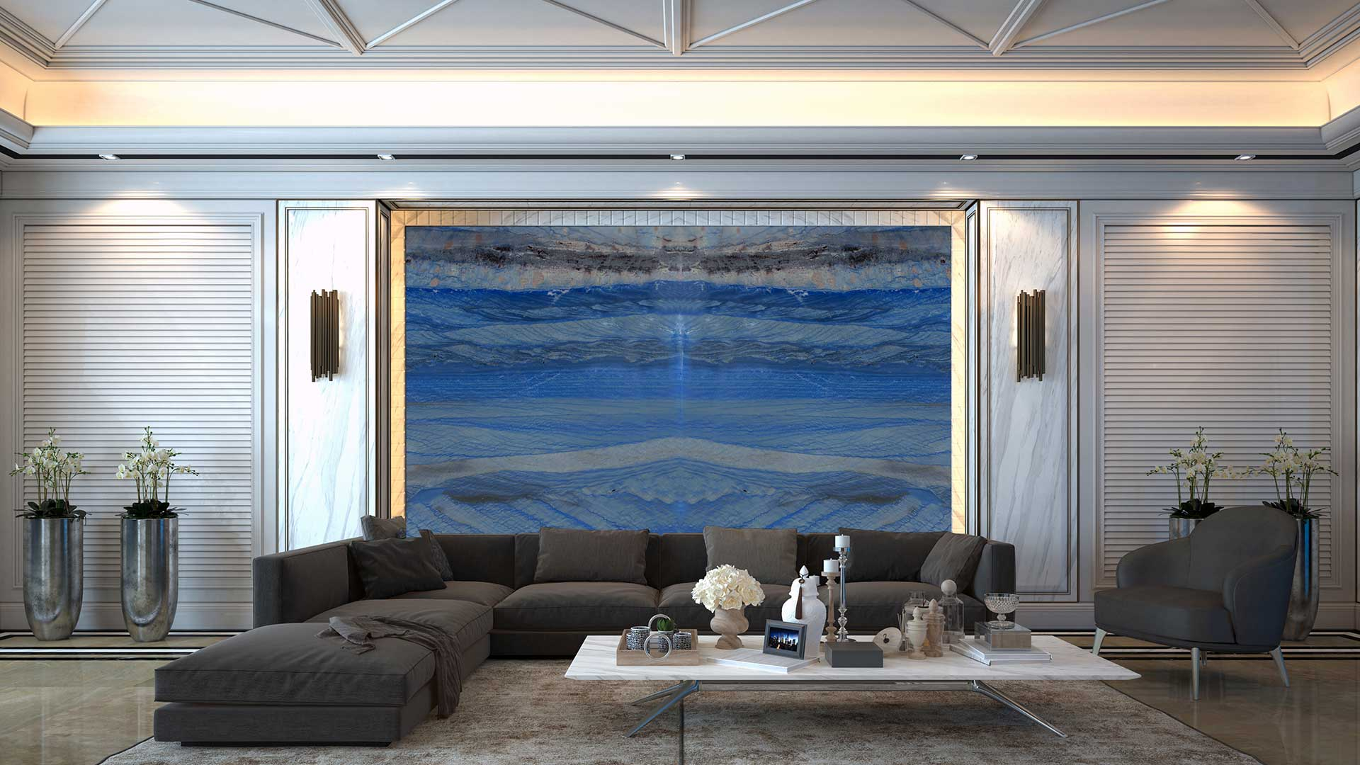 quartzite royal blue macaubas livingroom