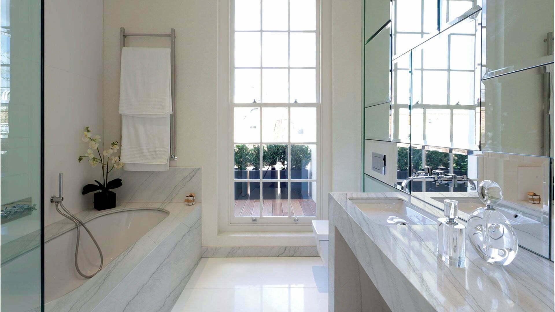 quartzite white macaubas bathroom