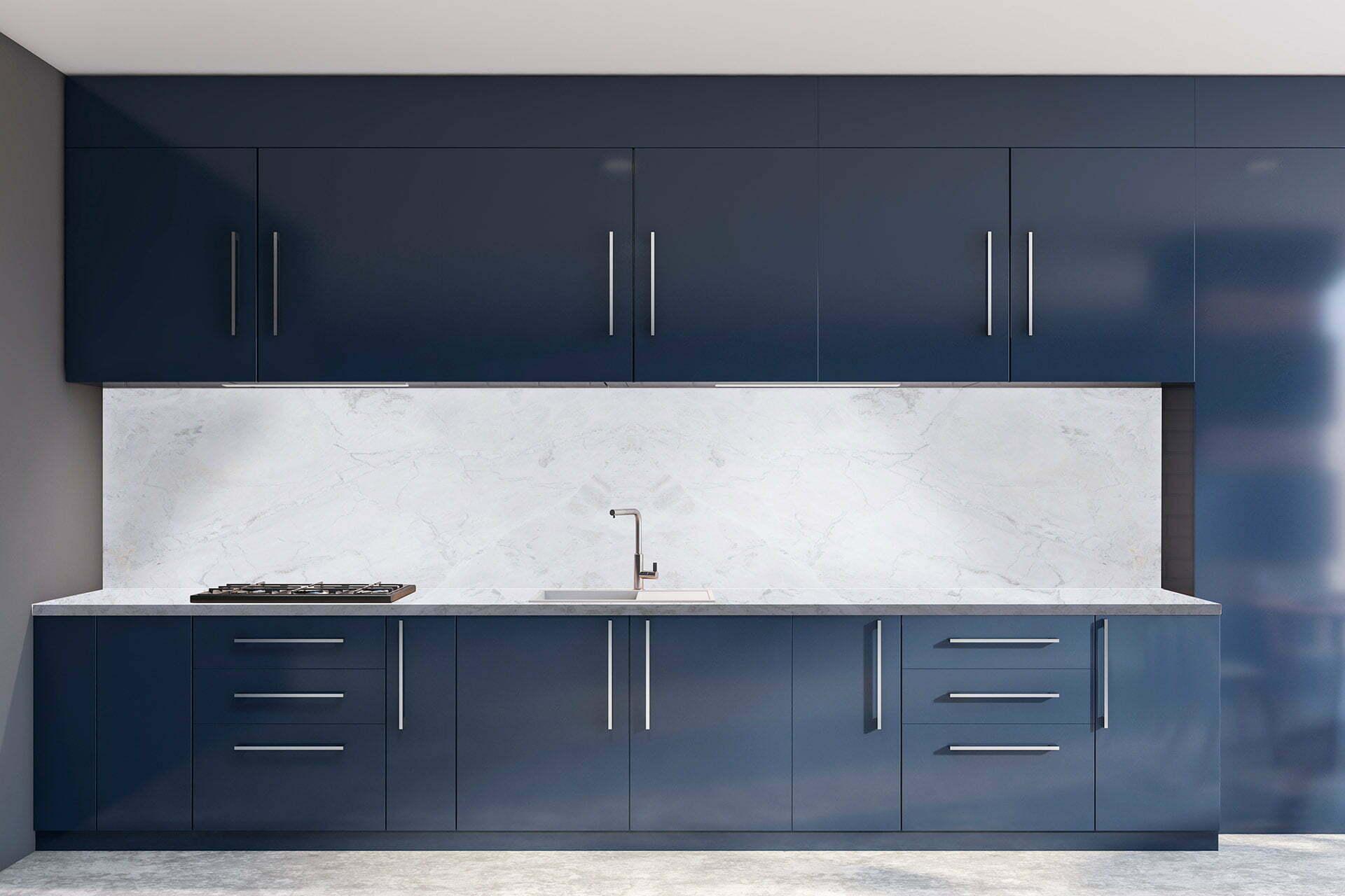 cozinha azul Calacatta Columbus
